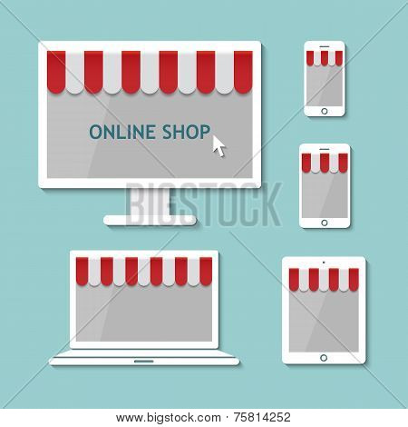 Computer Laptop Tablet And Smart Phone Online Shopping