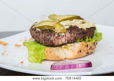 spoiled tasteless burger with not roasted Cutlets,