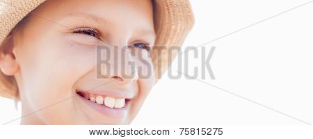 Bunner Summer Vacation Happy Child Boy Smile Straw Hat Backlight