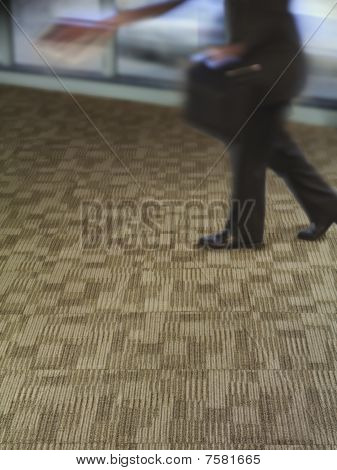 Man on rug with briefcase