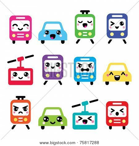 Kawaii cute icons - car, bus, train, tram and gondola