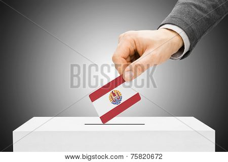 Voting Concept - Male Inserting Flag Into Ballot Box - French Polynesia