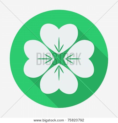 Flat style icon with long shadow, four-leaf clover vector illustration.