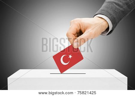 Voting Concept - Male Inserting Flag Into Ballot Box - Turkey
