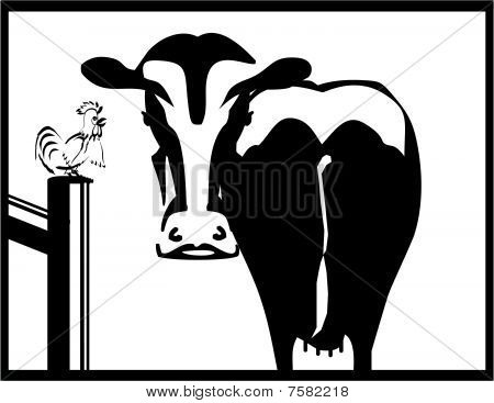 Cow and rooster silhouettes