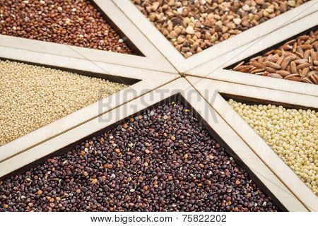 variety of gluten free grains (red and black quinoa, buckwheat, brown rive, amaranth and millet) in a wooden tray, focus on black quinoa