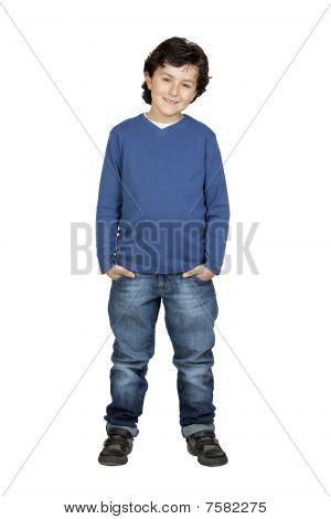 Child Whit Blue Shirt