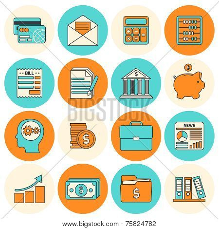 Accounting icons set flat line