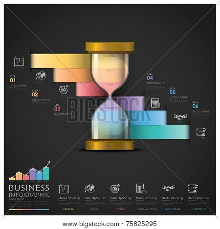 Sandglass Money And Financial Business Staircase Step Infographic