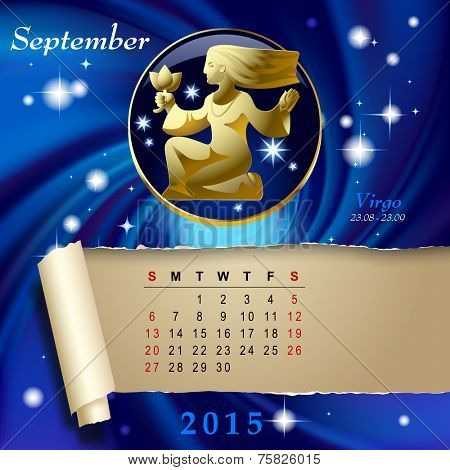 Simple monthly page of 2015 Calendar with gold zodiacal sign against the blue star space background. Design of September month page with Virgo figure.
