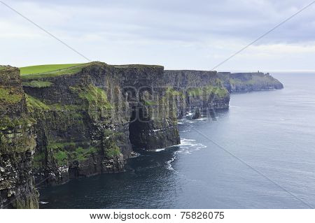 Cliffs of Moher and Atlantic Ocean.