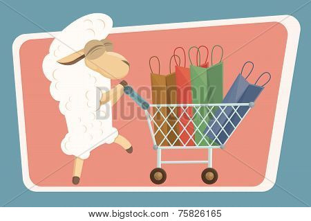 Vector Illustration. Card With Baby Lamb And Shopping Bags.
