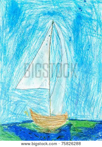 Child's Drawing Of Sailboat, Oil Pastels