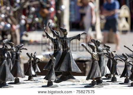 Turkish souvenirs: figures of Dervishes in Cappadocia.Turkey