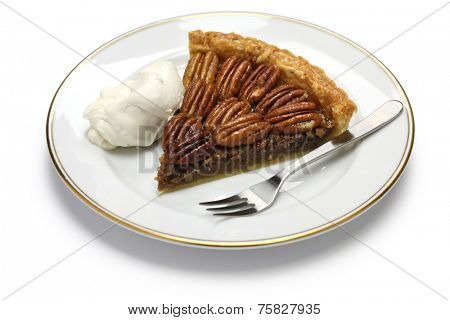 a slice of pecan pie isolated on white background