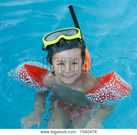 Little Child Swimming