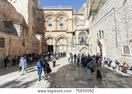 Visitors at the Church of the holy Sepulcher