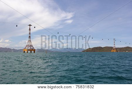 Cableway Over The Turquoise Sea