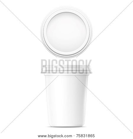 White cream pot template.