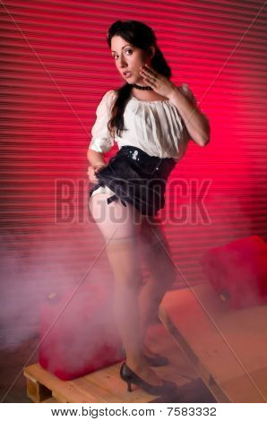 Girl In The Garage With Smoke