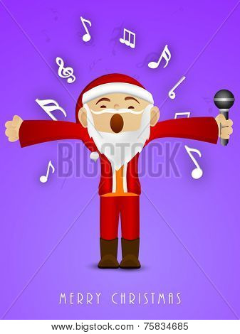 Kiddish Santa Claus holding microphone in his hand and singing jingle for Merry Christmas on purple background.