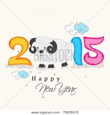 Happy New Year celebration concept with colorful text and kiddish sheep on beige background.