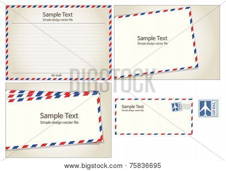 Air mail, postal stamp and letter