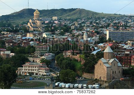 aerial view of Tbilisi, Georgia