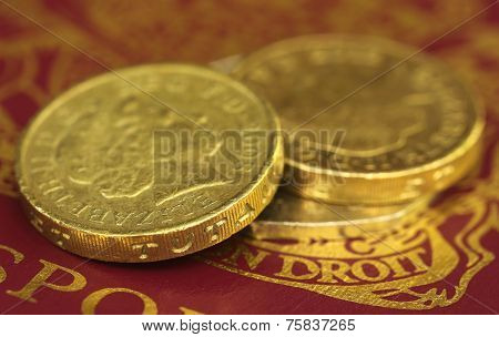 British Pound Coin On Passport