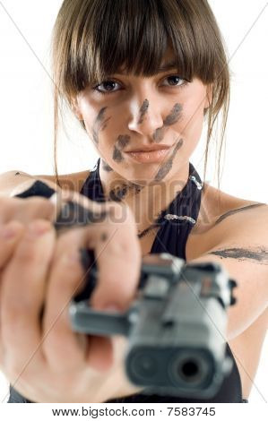 Beautiful Girl With Gun