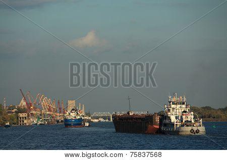 few ships on Don river in Rostov