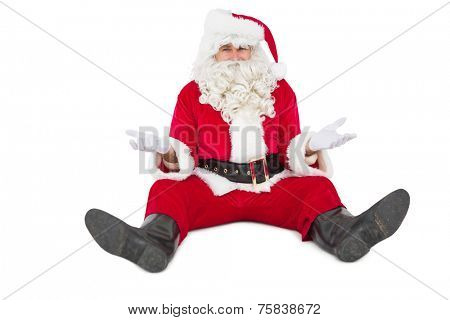 Doubtful santa sitting alone on white background