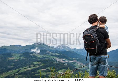 Father And His Child In The Mountain