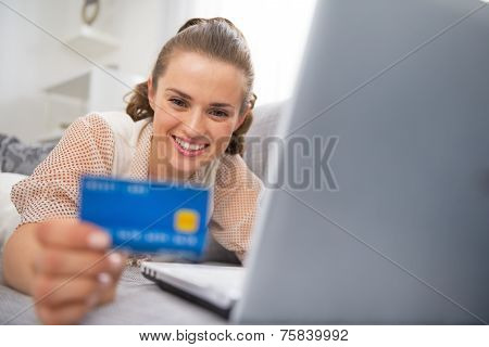 Happy Young Woman Making Online Shopping
