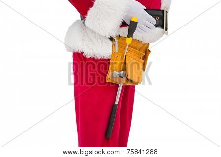 Santa claus with tool belt on white background