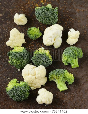 organic cabbage cauliflower and green broccoli