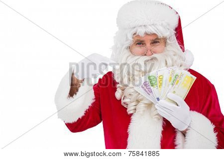 Santa claus pointing his cash on white background