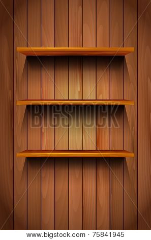 Three Wooden Shelves On The Wooden Background