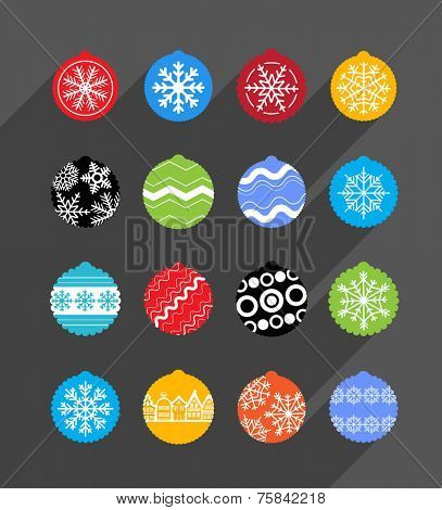 Color Christmas baubles collection. Design elements