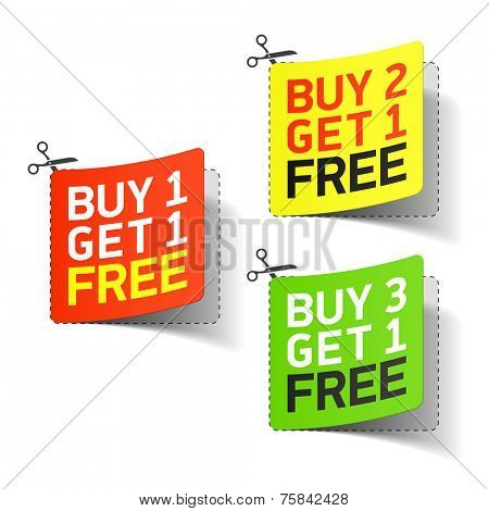 Buy 1 Get 1 Free coupon. Vector.
