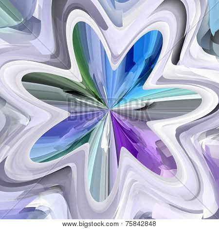 Blue, Green And Violet Abstract Bloom Shape