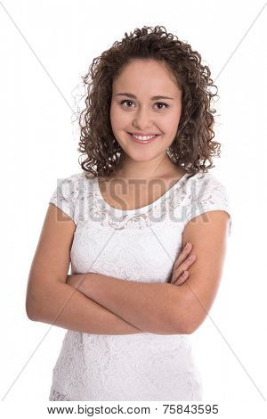 Portrait of a happy and smiling young woman with natural twirls.