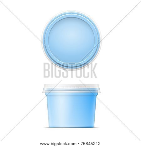 Blue plastic spread container template.