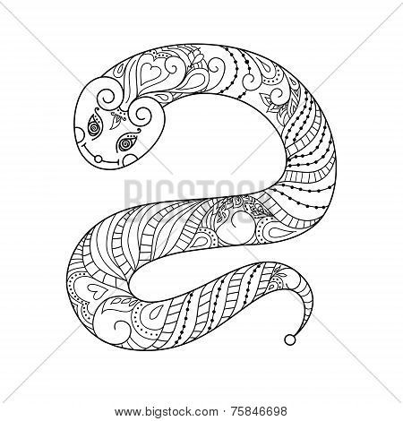 Happy new year. 2013. Snake year. Vector. Black and white silhou