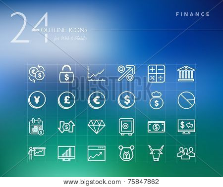 Financial Outline Icons Set