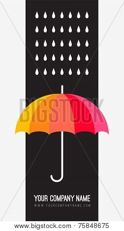Vector umbrella and rain drops. Abstract weather design. Black a
