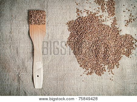 Buckwheat with wooden paddle lying on canvas
