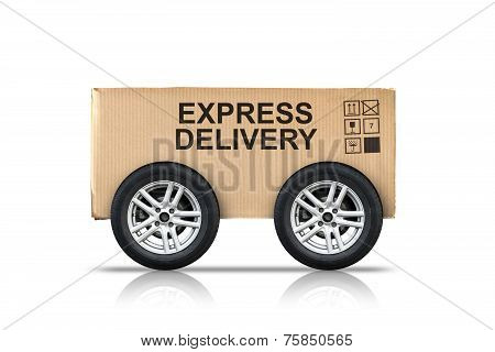 Cardboard Box With Standard Signs On Automotive Wheels