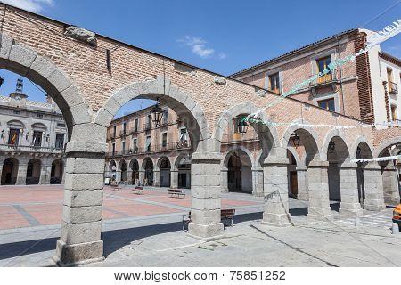Square In The Old Town Of Avila