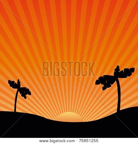 Vector Drawing Of The Sun And Exotic Landscapes